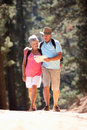 Senior couple walking reading a map Royalty Free Stock Image