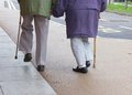 Senior couple walking with sticks holding hands Stock Image