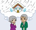 Senior couple are worried heavy snow illustration of who Royalty Free Stock Photo