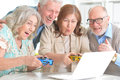 Senior couples having fun Royalty Free Stock Photo