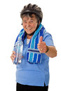 Senior cyclist woman with water bottle helmet and towel isolated Stock Images