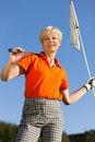 Senior female Golf player Stock Image
