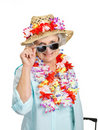 Senior female tourist looking through googles Royalty Free Stock Images