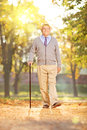 Senior gentleman walking in a park on a sunny day in autumn full length portrait of with cane Stock Photo