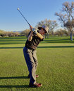 Senior Golfer practicing Golf Swing Royalty Free Stock Photo