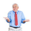Senior guy so what who cares angry unhappy elderly man or worker or boss asking s the problem isolated on white background Stock Images