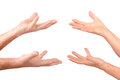 Senior hands show hold on palms gesture Stock Images