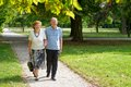 Senior happy couple enjoying walking in the park Stock Photos