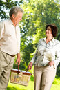 Senior happy couple walking Royalty Free Stock Photos