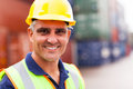 Senior harbor worker happy at container depot Royalty Free Stock Photos