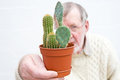 Senior holding cacti in a plant pot. Stock Photos