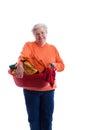 Senior holding a laundy basket Royalty Free Stock Photography