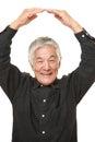 Senior japanese man making ok gesture studio shot of on white background Stock Photos