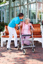 Senior lady with a care assistant or her daughter Royalty Free Stock Photo