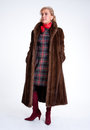 Senior lady with mink coat e wearing a Royalty Free Stock Images