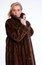Senior lady with mink coat h wearing a Stock Photo