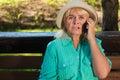Senior lady on the phone. Royalty Free Stock Photo