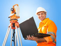 Senior land surveyor with theodolite Stock Images