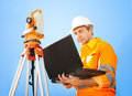 Senior land surveyor with theodolite Stock Image