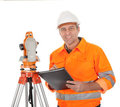Senior land surveyor with theodolite Royalty Free Stock Images