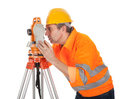 Senior land surveyor with theodolite Royalty Free Stock Photo