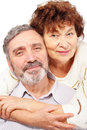 Senior leaned woman hug man Stock Photo