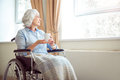 Senior lonely woman in wheelchair Royalty Free Stock Photo