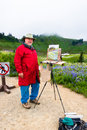 Senior Male Artist Painting Nature Royalty Free Stock Photo