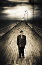 Senior Male Standing On A Pier Promenade Royalty Free Stock Photos
