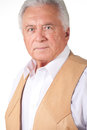 Senior man in brown leather vest Stock Photography