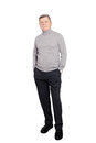 Senior Man Businessman wearing Roll Neck Jumper In Grey Isolated Royalty Free Stock Photo