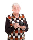 Senior man camera portrait of happy holding a Stock Photos