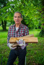 Senior Man carrying in his arms the firewood he just saw. Royalty Free Stock Photo