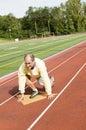 Senior man exercising sports field and run Royalty Free Stock Photo