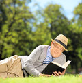 Senior man with hat lying on a grass and reading a book in a par green park shot tilt shift lens Royalty Free Stock Images