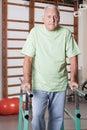 Senior man having ambulatory therapy portrait of Stock Image