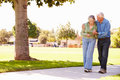 Senior man helping wife as they walk in park together unwell holding hands Royalty Free Stock Photography