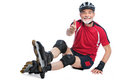 Senior man inline skating Royalty Free Stock Photo