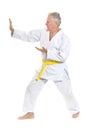 Senior man in karate Royalty Free Stock Photo