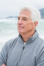 Senior man looking away at beach contemplative casual the Stock Photos