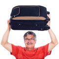 Senior man with luggage Stock Images
