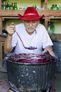 Senior man making jam Royalty Free Stock Photography