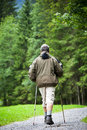 Senior man nordic walking outdoors Royalty Free Stock Photos
