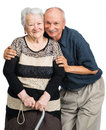 Senior man with old woman men women on white background family time Royalty Free Stock Images