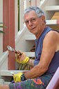 Senior man painting home Royalty Free Stock Photo
