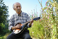 Senior man playing mandolin outside on the green background Stock Image