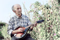 Senior man playing mandolin outside on the green background Stock Photography
