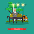 Senior man relaxing in park vector illustration in flat style