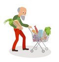 Senior man with shopping cart full of food. Grandfather on market vector illustration isolated white background. Royalty Free Stock Photo