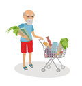 Senior man with shopping cart full of food. Grandfather on market vector illustration white background.